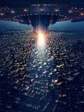 Ufo is op de stad, het 3d teruggeven royalty-vrije illustratie