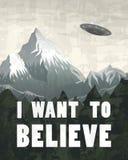 UFO ou soucoupe volante sur un fond des montagnes Étrangers d'espace dans le vaisseau spatial Un éclair de léger lumineux prend t illustration de vecteur