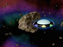 UFO in outerspace with asteroid. On sky royalty free illustration