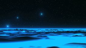 UFO over the Alien Blue Planet. Bright radiant objects UFO quickly fly over the hills, covered with blue glowing fog. In the dark sky, bright stars stock video
