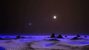 UFO over an Alien Planet. Bright glowing objects quickly take off because of fog horizon. On a dark starry sky bright sun. Sandy landscape, small lakes, hills stock footage
