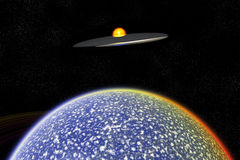 UFO Over Alien World. A UFO flying close to an alien planet Stock Photo