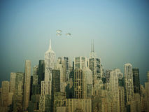 Ufo over the city Stock Photos