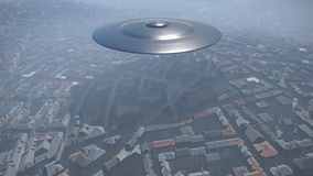 UFO over the city Stock Photography