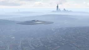 UFO over the city Royalty Free Stock Photography