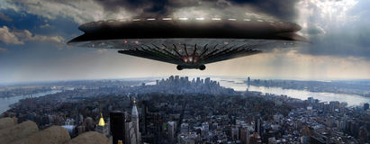 Ufo over Manhattan. A giant Ufo approaches Manhattan, on a panoramic view as seen from the Empire State building, beginning an alien invasion stock illustration