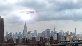 Ufo over Manhattan. Ufo appearing over Manhattan and disappearing among clouds stock video