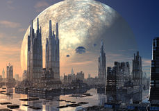 UFO over Moderne Cityscape stock foto's