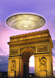 Ufo over Paris. In 3d Stock Photography