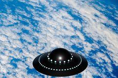 UFO over white clouds and blue surface of the Earth 3D illustration royalty free stock image