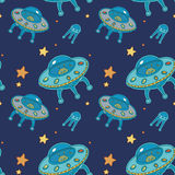 Ufo pattern. With aliens and stars Stock Image
