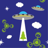 UFO pattern. A seamless UFO pattern with clouds, stars, ufo circles and a pine tree Stock Images