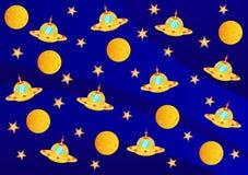 UFO, Planeten und Sterne Lizenzfreies Stockfoto