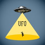Ufo poster sketch Stock Photos