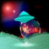 UFO promienia ogienia planeta Mars ilustracja ilustracji