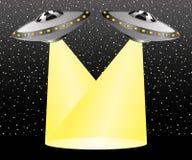 UFO promienie iluminują przestrzeń Obrazy Royalty Free
