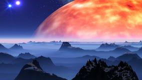 UFO przeciw fantastycznemu krajobrazowi i słońce ilustracji