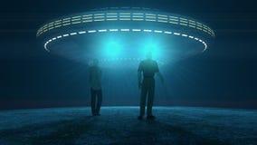 UFO que ataca e que sequestra Imagens de Stock Royalty Free