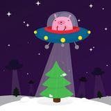 Ufo rabbit with christmas tree Stock Photo