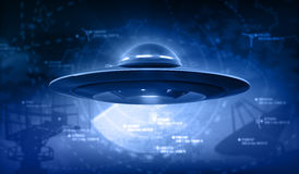 UFO and Radar. 3D Rendering stock illustration