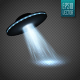 UFO-Raumschiff mit Lichtstrahl auf transparnt Hintergrund Vektor vektor abbildung