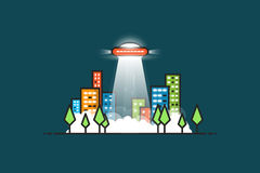 Ufo ray. UFO with gravitational abducting rays flying in the city. City park with trees and buildings with glowing windows at night. Fog and smoke on the ground Royalty Free Stock Photography