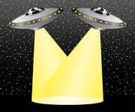 UFO rays illuminate the space Royalty Free Stock Images