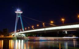 Ufo restaurant, New bridge, Bratislava, Slovakia. New Bridge over Danube River in Bratislava. Bratislava is the capital of Slovakia on Danube River, formerly Royalty Free Stock Photography