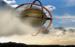 UFO rides the clouds. A giant alien space-craft is riding clouds above the earth surface Royalty Free Stock Photo