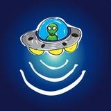 UFO in ruimte met sterren Stock Afbeelding