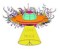 Ufo-rymdskepp Oidentifierat flyga objekt med den ljusa strålen, blommor och hippiefredsymbol Fred förälskelsetecken Designbegrepp royaltyfri illustrationer