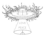 Ufo-rymdskepp Oidentifierat flyga objekt med den ljusa strålen, blommor och hippiefredsymbol Fred förälskelsetecken Designbegrepp vektor illustrationer