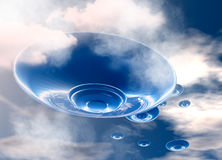 UFO's in evening sky Royalty Free Stock Photos
