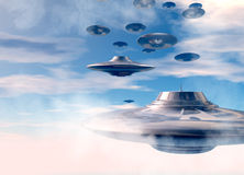 UFO's in evening sky Stock Photo
