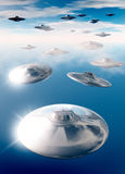UFO's in evening sky Royalty Free Stock Images