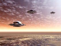 UFO. Salida del sol Imagen de archivo libre de regalías