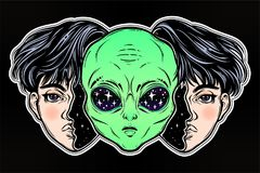Alien from outer space face in disguise as a boy. UFO sci-fi, tattoo art. Portriat of the extraordinary alien from outer space face in disguise as a human boy Royalty Free Stock Photos