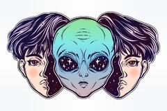 Alien from outer space face in disguise as a boy. UFO sci-fi, tattoo art. Portriat of the extraordinary alien from outer space face in disguise as a human boy Stock Photos