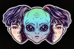 Alien from outer space face in disguise as a boy. UFO sci-fi, tattoo art. Portriat of the extraordinary alien from outer space face in disguise as a human boy Royalty Free Stock Photography