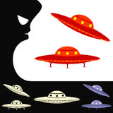 UFO. Set of objects Stock Photo