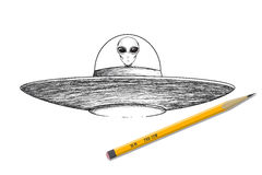 Ufo shaceship z obcą wektorową ilustracją ilustracji