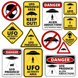 UFO ships. Humorous danger road signs for UFO, aliens abduction theme, vector illustration Royalty Free Illustration