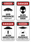 UFO ships. Set of Danger signs for UFO, aliiens abduction theme, vector illustration Stock Illustration