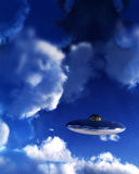 UFO In Sky 5. A UFO flying in the daylight sky amongst the clouds. Their are a few stars showing through as the UFO is high in the atmosphere Stock Photos