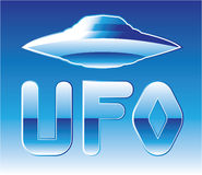 UFO in the sky with abbreviation Royalty Free Stock Photos