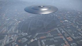 UFO sobre la ciudad Ilustración del Vector
