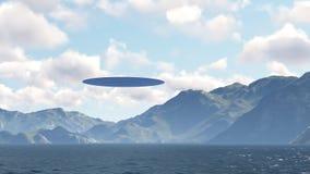 UFO sobre la naturaleza Stock de ilustración