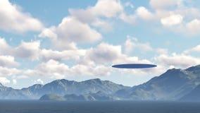 UFO sobre la naturaleza Ilustración del Vector