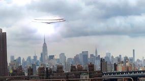 UFO sobre Manhattan ilustração stock