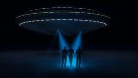 Ufo som anfaller och rövar bort royaltyfri illustrationer